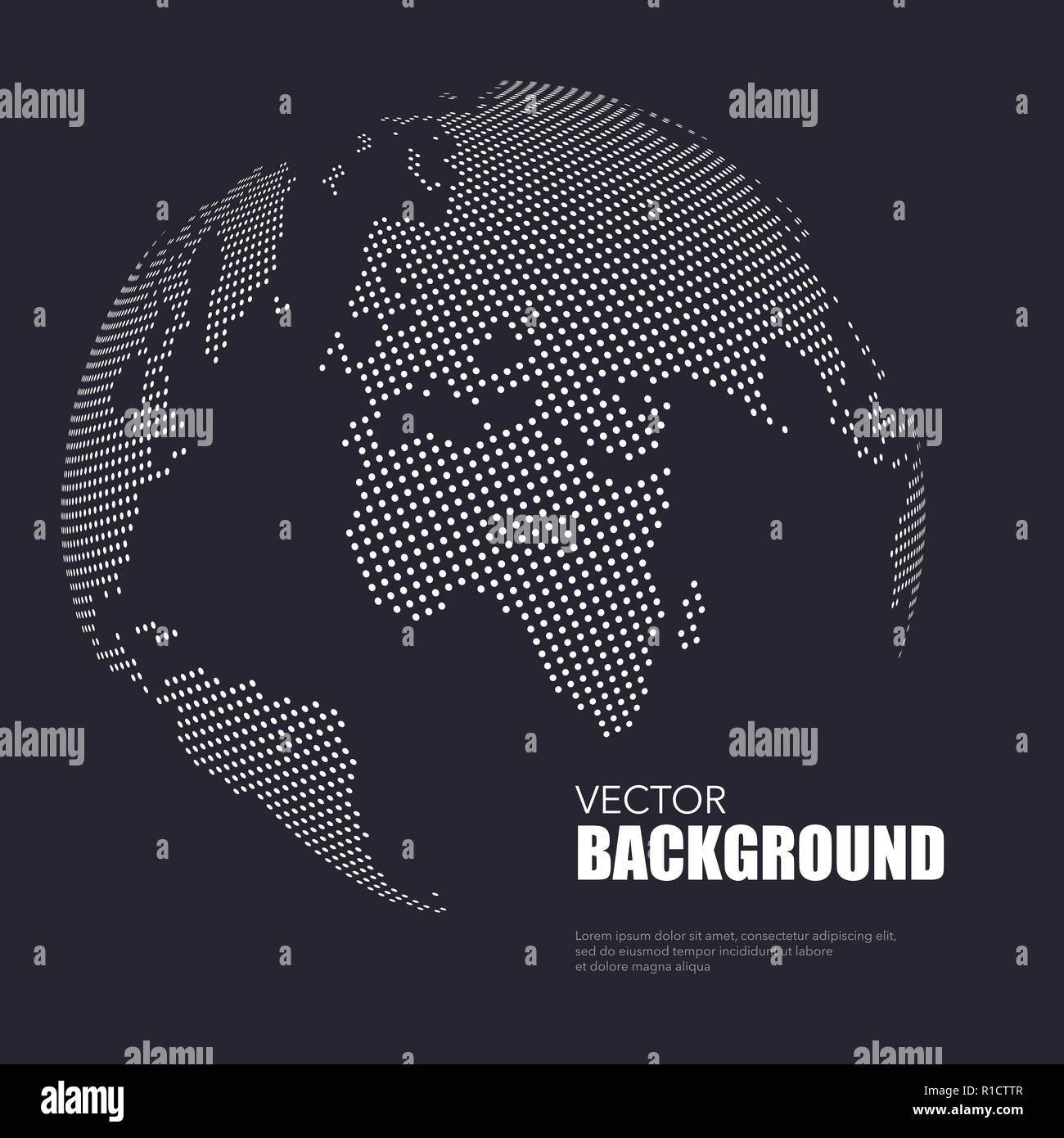 Dark background with white dotted world map with sample text - Stock Image