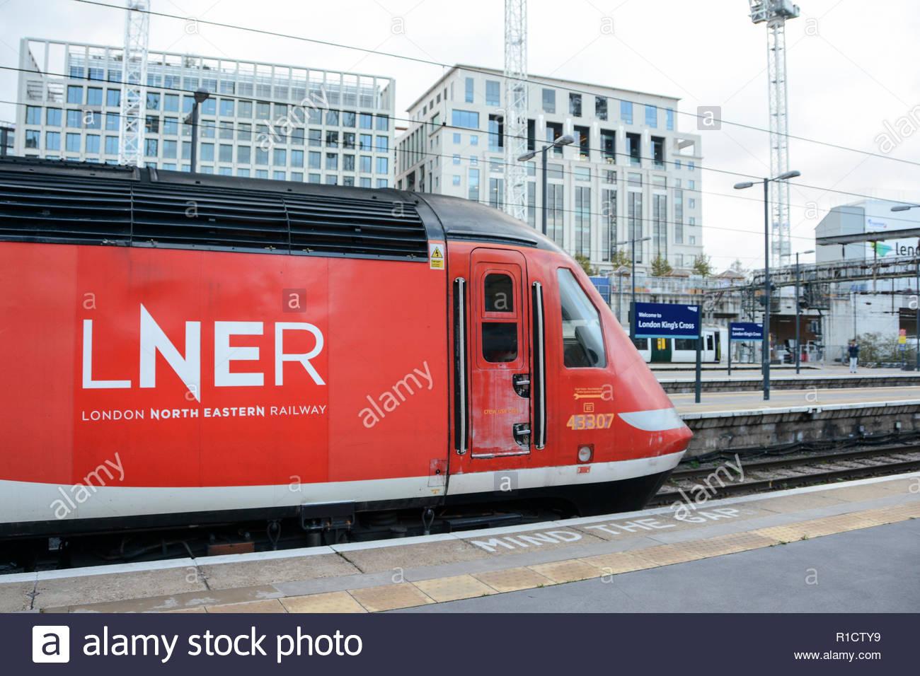 London North Eastern Railway (LNER), KIngs Cross station, London, UK - Stock Image