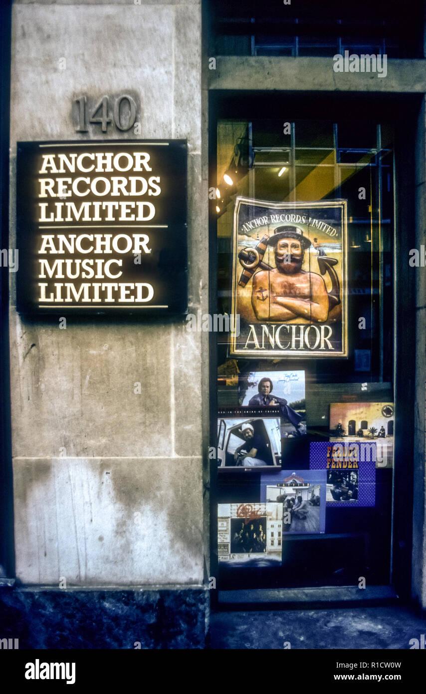 The premises of Anchor Records in Wardour Street, Soho, in November 1976.  The company closed in 1978. - Stock Image