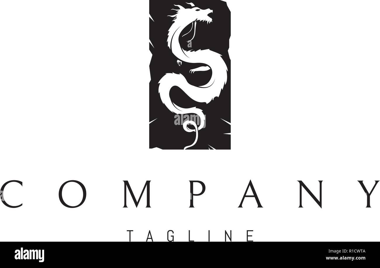 Black Dragon vector logo image - Stock Vector