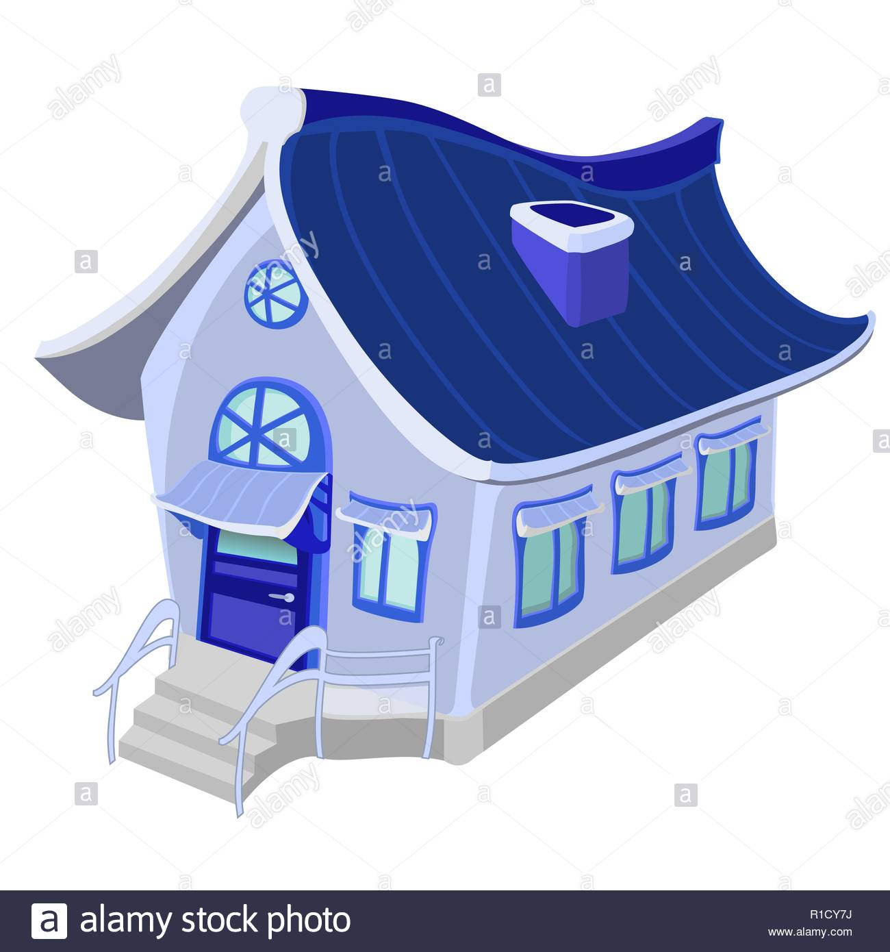 A beautiful little house. A drawing in cold blue tones on a white background - Stock Image