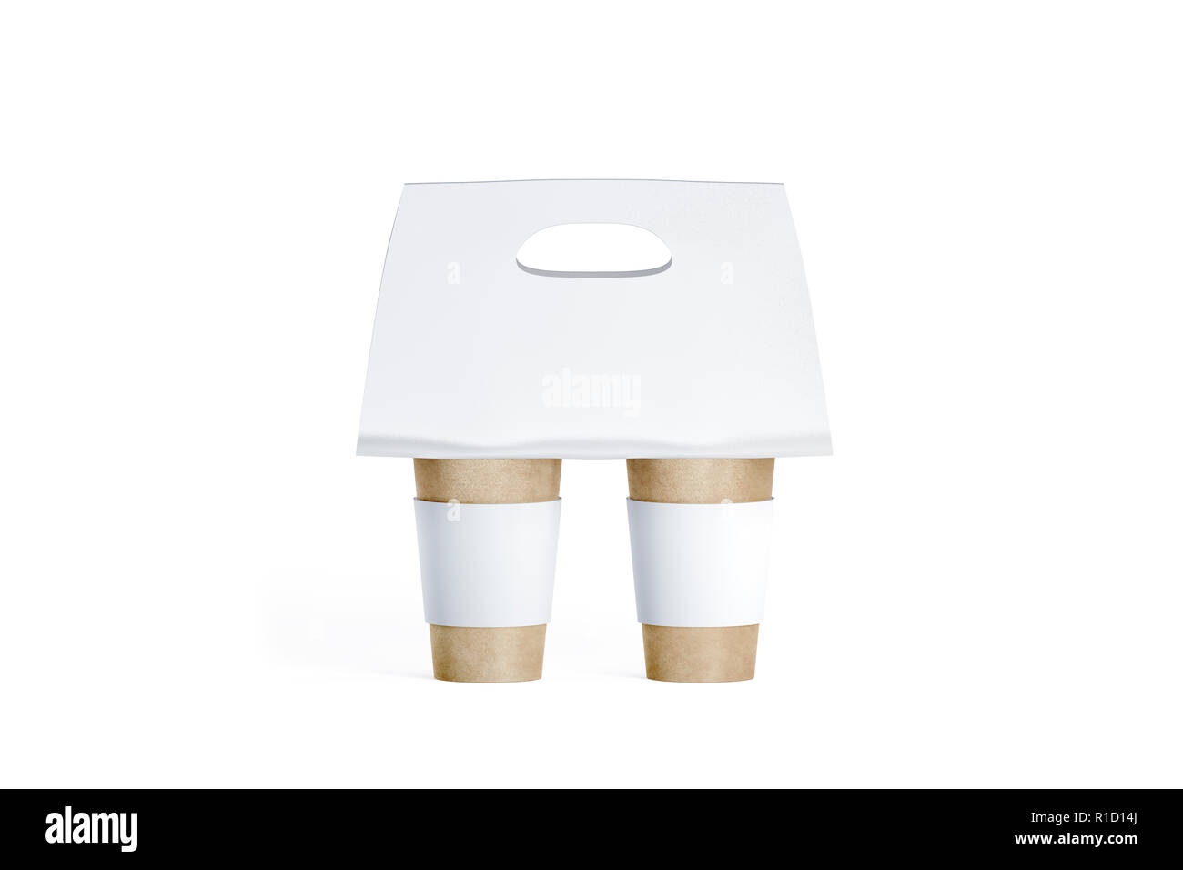Blank two craft coffee cups white with carrier holder mockup, 3d rendering. Empty paper cupholder mock up, isolated. Mobility koozie package for coffee or tea, front view. Takeout clutches template. - Stock Image