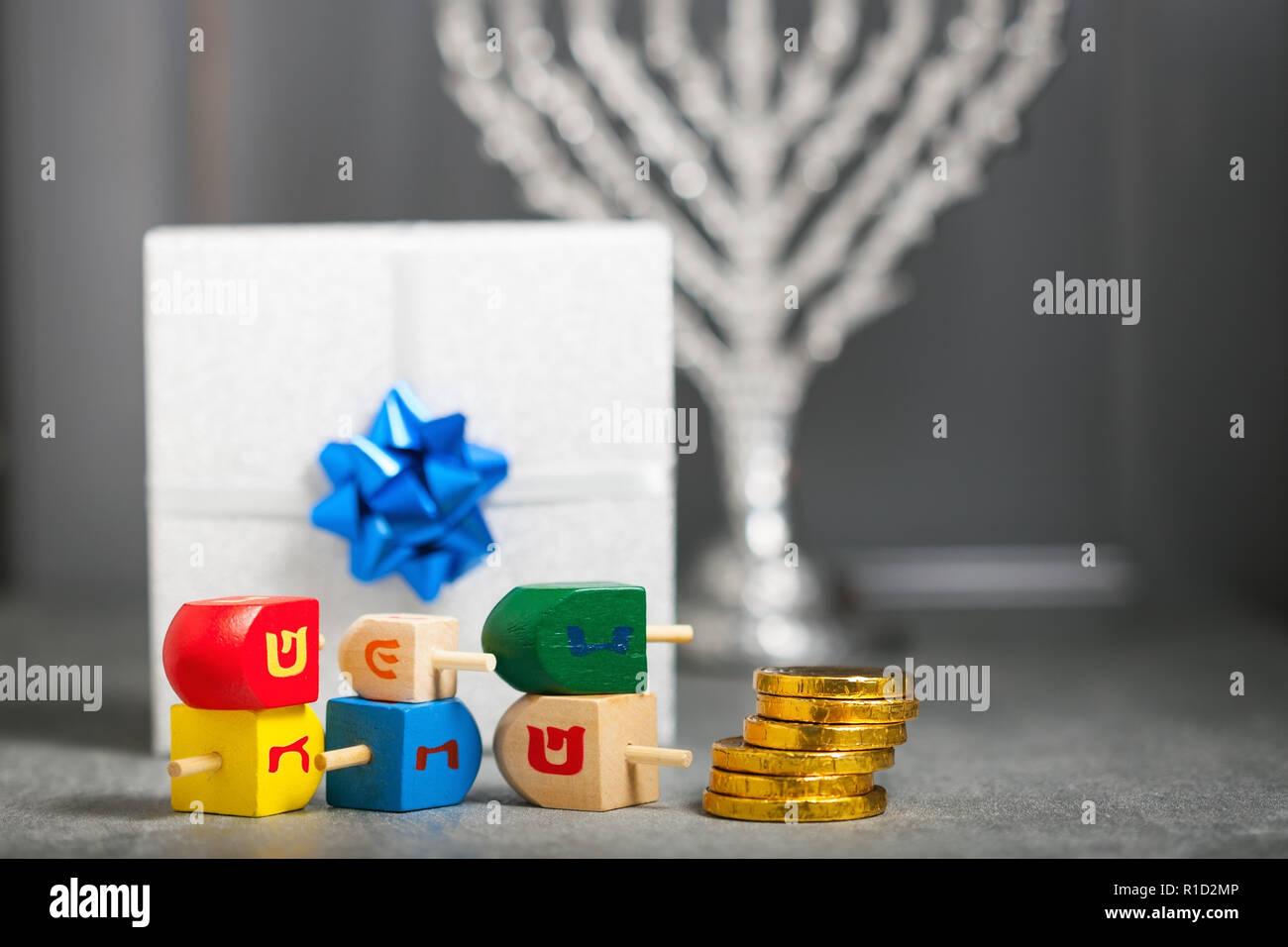 The Religious symbols of Jewish holiday Hanukkah. Stock Photo