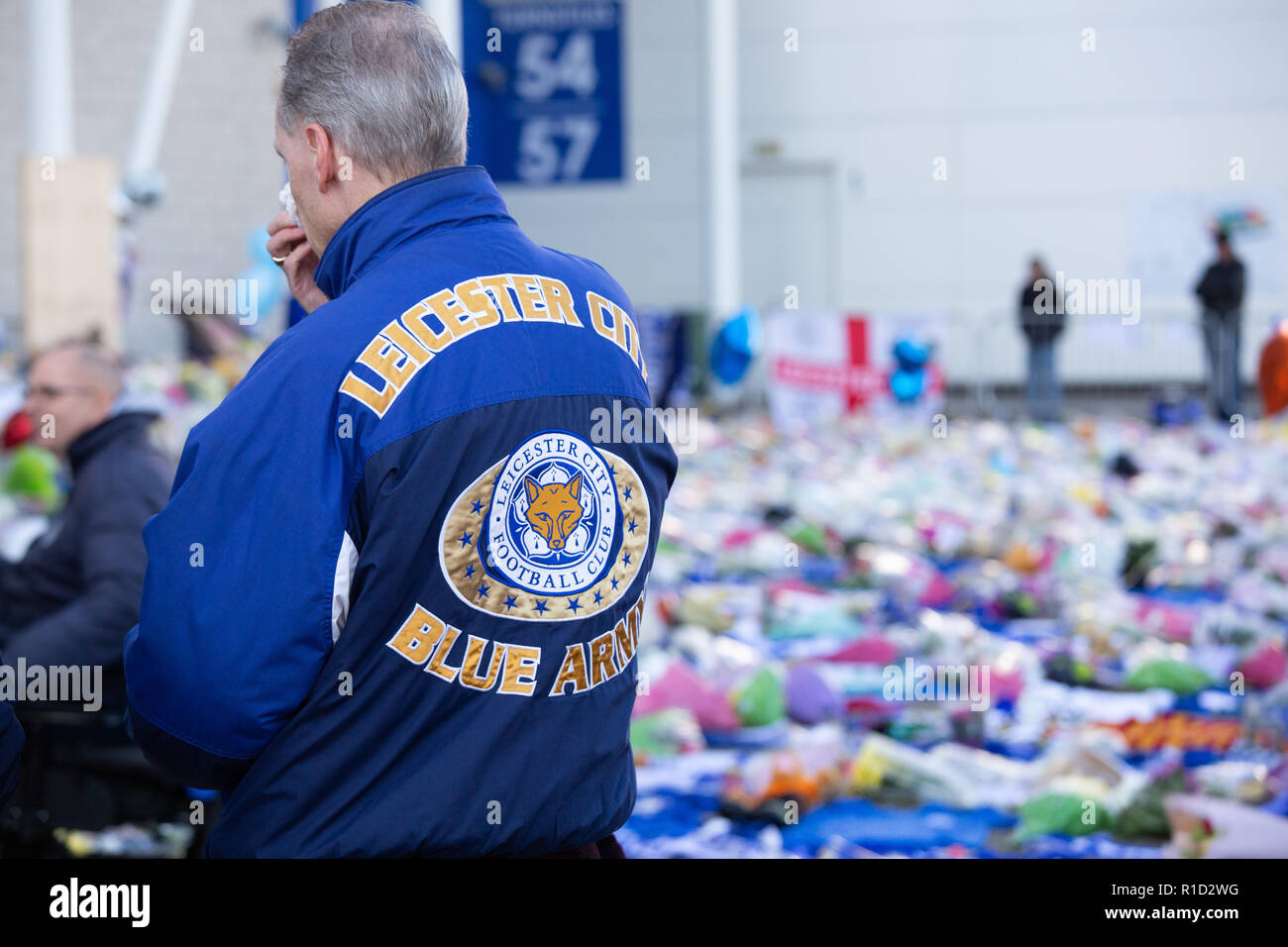 Leicester City Football fans paying their respects outside the stadium after the death of owner Vichai Srivaddhanaprabha in a helicopter crash. Stock Photo