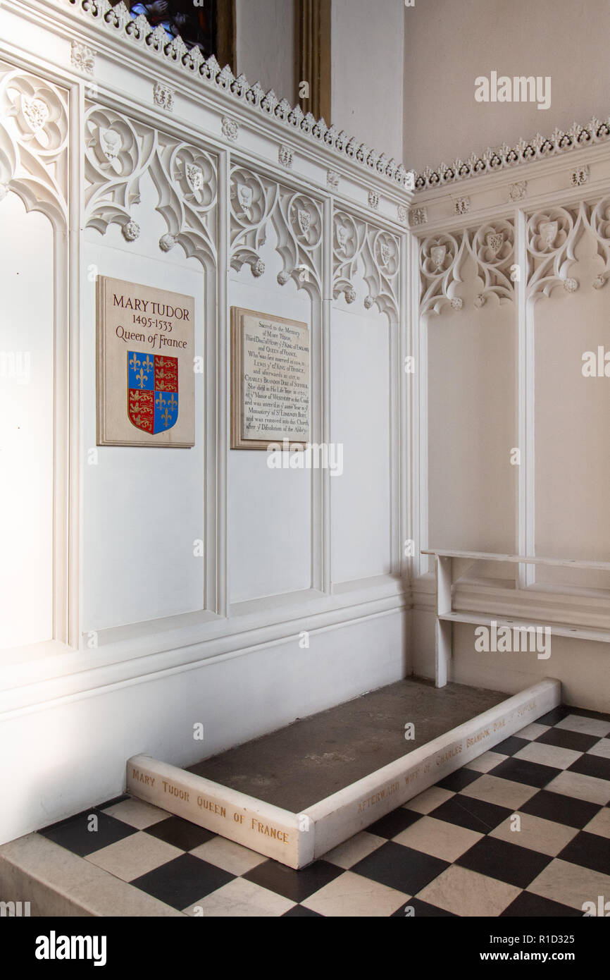 The resting place of Mary Tudor, Queen of France. She was laid to rest on the left of the altar in St Mary's Church, Bury St Edmunds, Suffolk, England - Stock Image