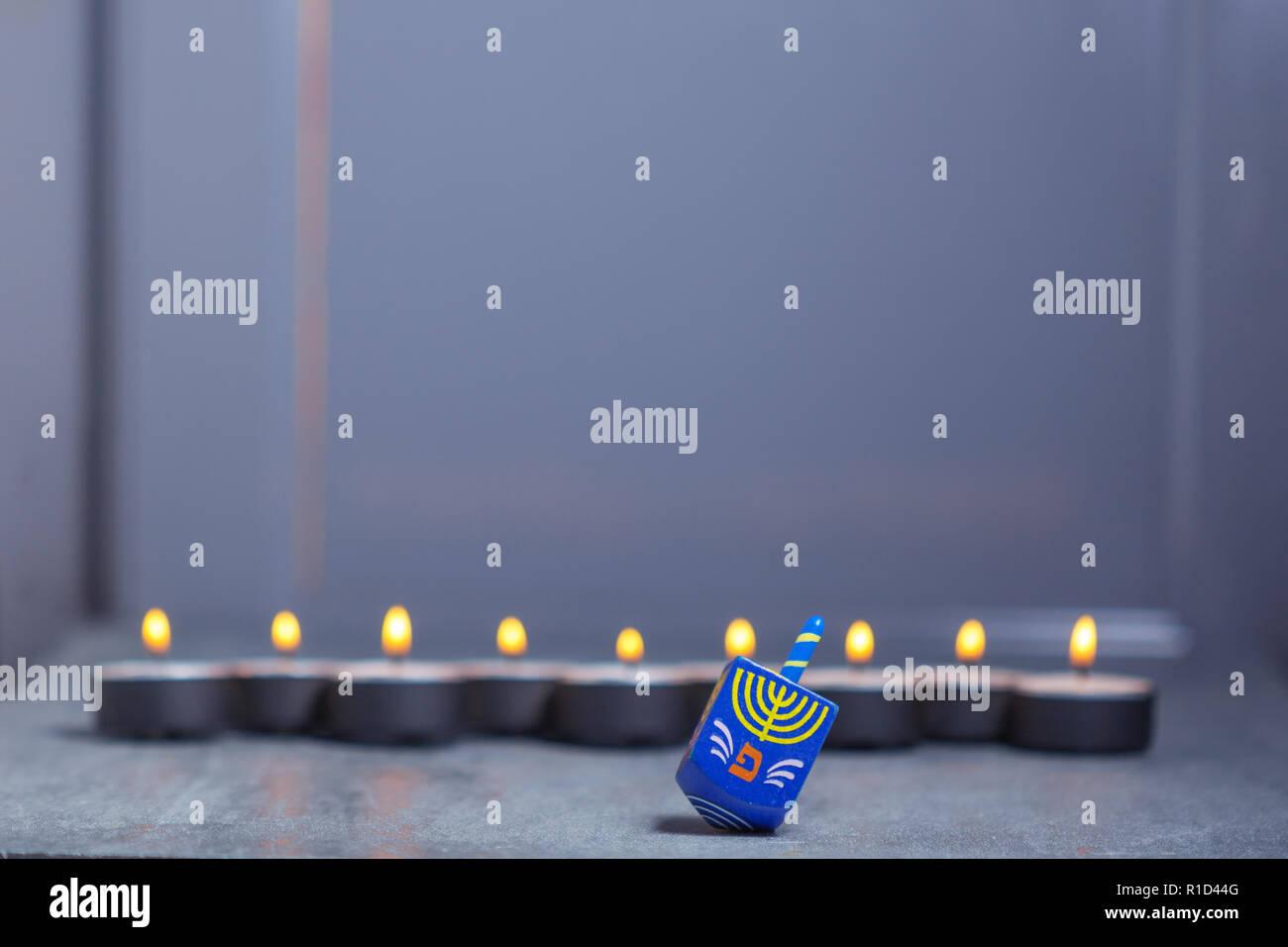 The Defocused lights of Jewish holiday Hanukkah. Stock Photo