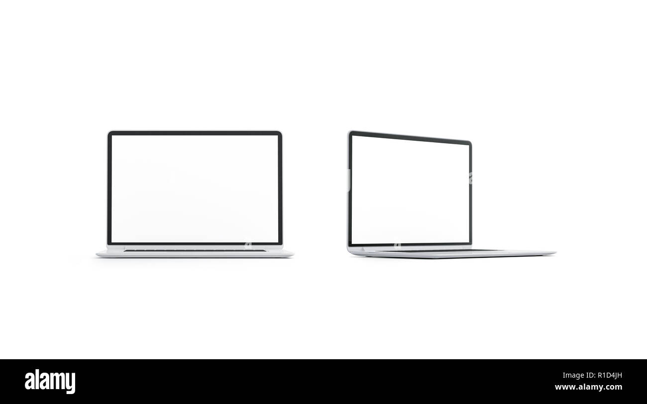 Blank white laptop screen mockup set, front and side view, 3d rendering. Empty digital display mock up, isolated. Clear slim computer for network template. Business notebook with modern monitor. - Stock Image