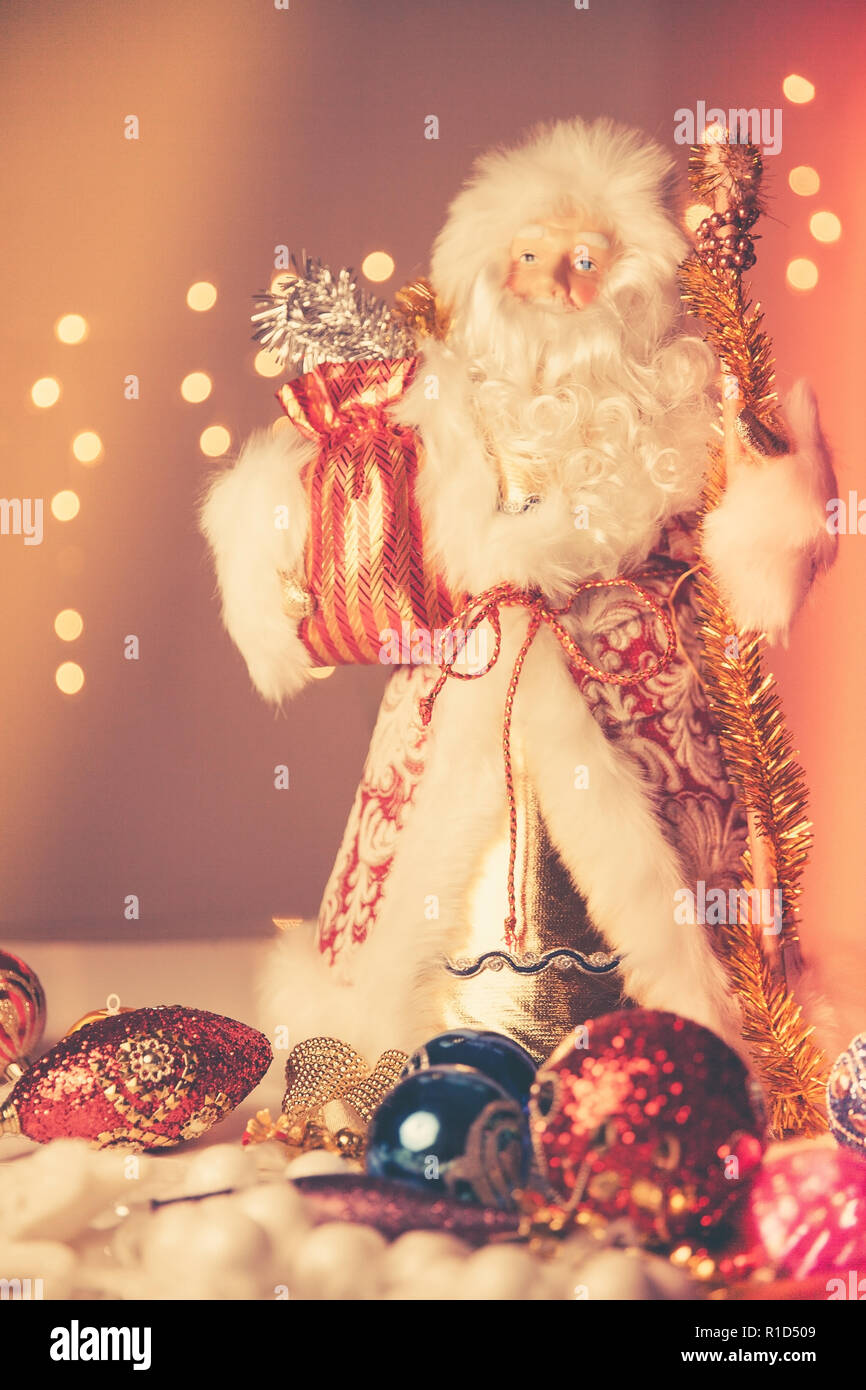 Father Frost (Russian Ded Moroz) figurine on traditional 2019 New Year celebration Stock Photo