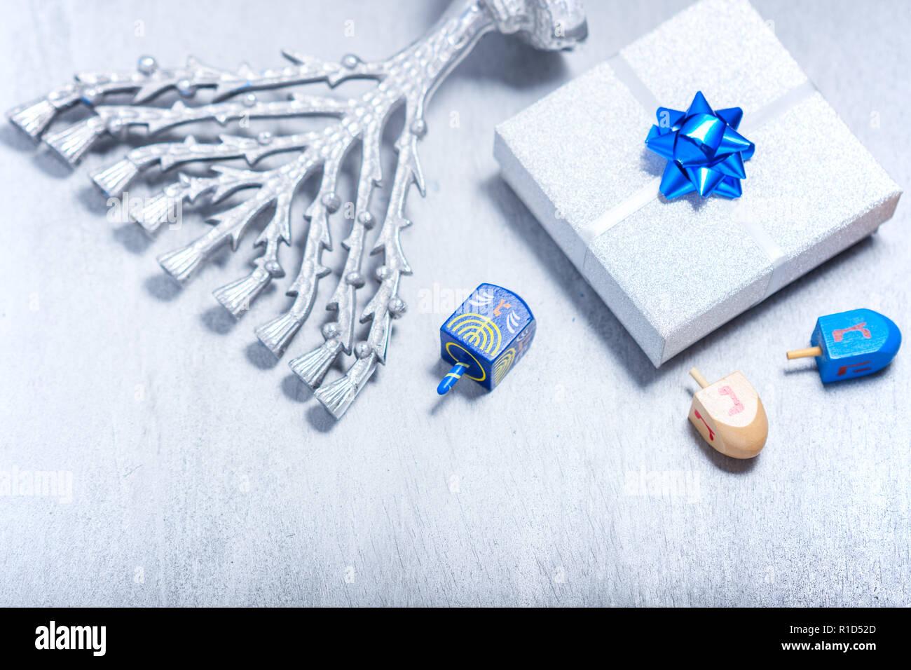 Background of Jewish holiday Hanukkah. The Religious symbols. Stock Photo