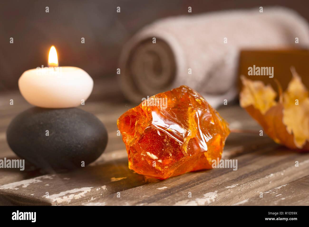 burning candle closeup - Stock Image