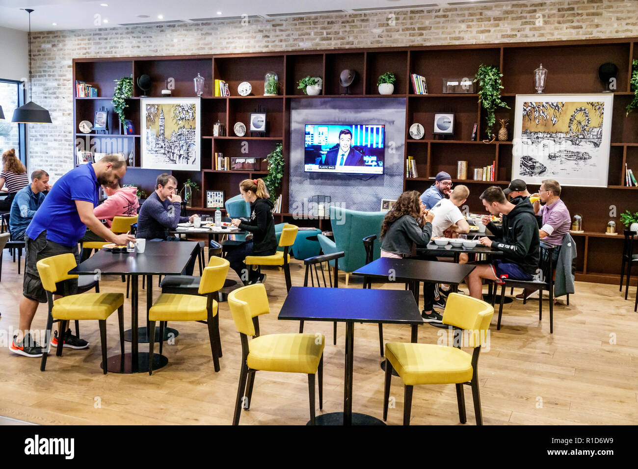 London England United Kingdom Great Britain Lambeth Staybridge Suites London Vauxhall hotel inside interior dining room free included breakfast tables - Stock Image