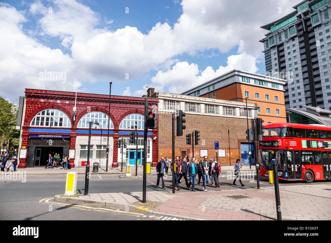 London England United Kingdom Great Britain Lambeth South Bank Lambeth North Underground Station subway tube public transportation exterior intersecti - Stock Image