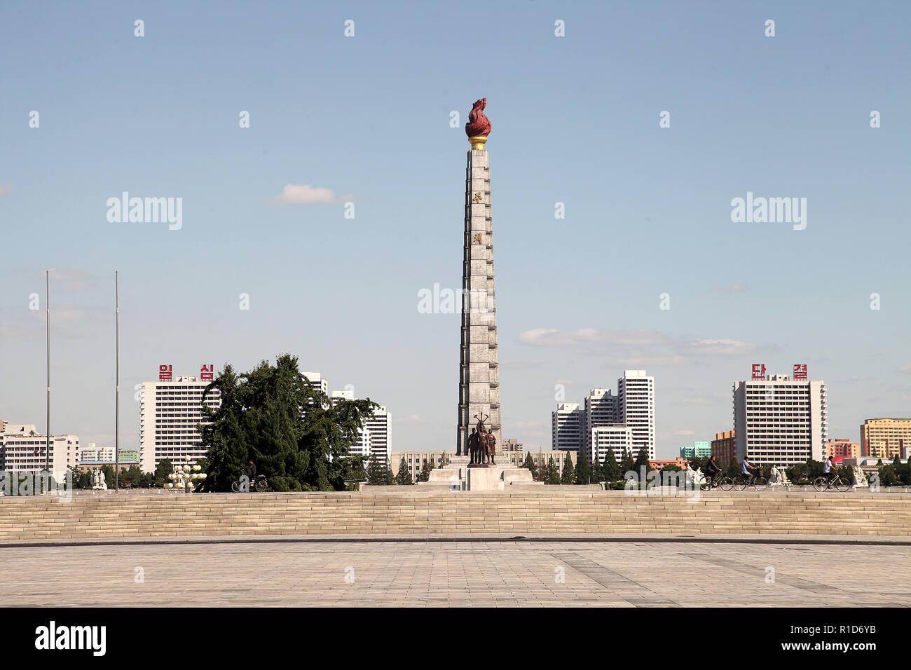 Juche Tower at Pyongyang in North Korea - Stock Image