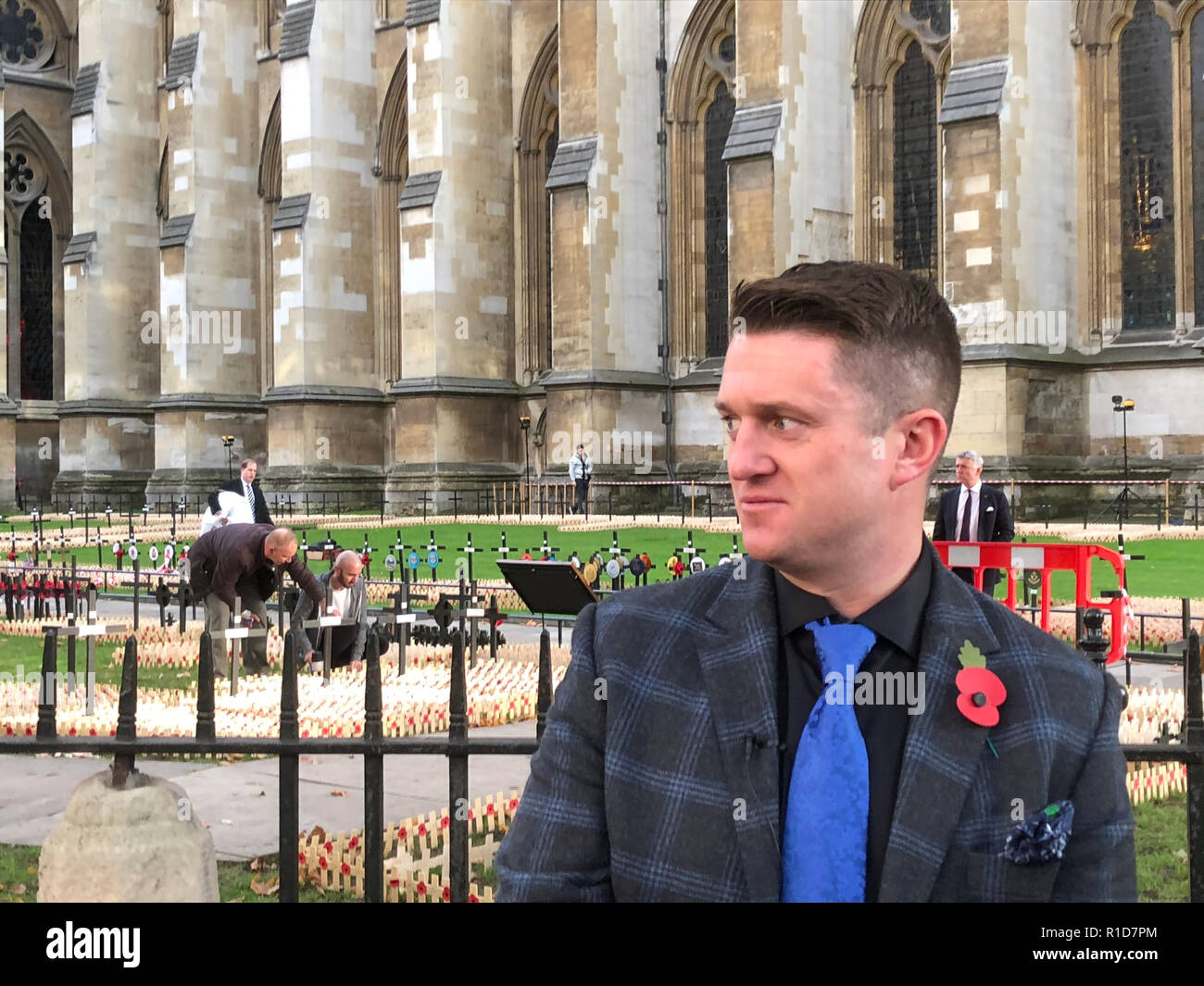 Tommy Robinson, former EDL leader seen during a visit of a memorial for the 100th anniversary of the first World War in London. - Stock Image