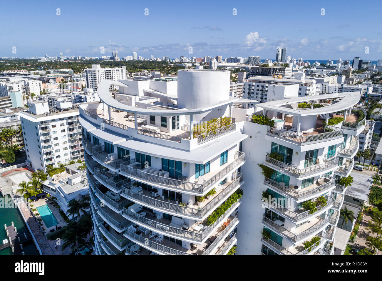 Miami Beach Florida Capri South Beach rooftop terrace balconies aerial overhead bird's eye view above - Stock Image