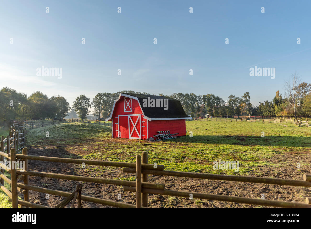Red wooden barn on a farm, fence made of logs. Blue sky and forest with trees in the background. - Stock Image