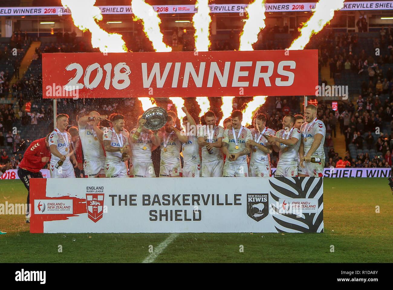 Leeds, UK. 11th Nov 2018. 11th November, Elland Road, Leeds, England ; Rugby League International  3rd Test Match , England v New Zealand ;  England lifting the Baskerville Shield Credit:  Craig Milner/News Images Credit: News Images /Alamy Live News Stock Photo