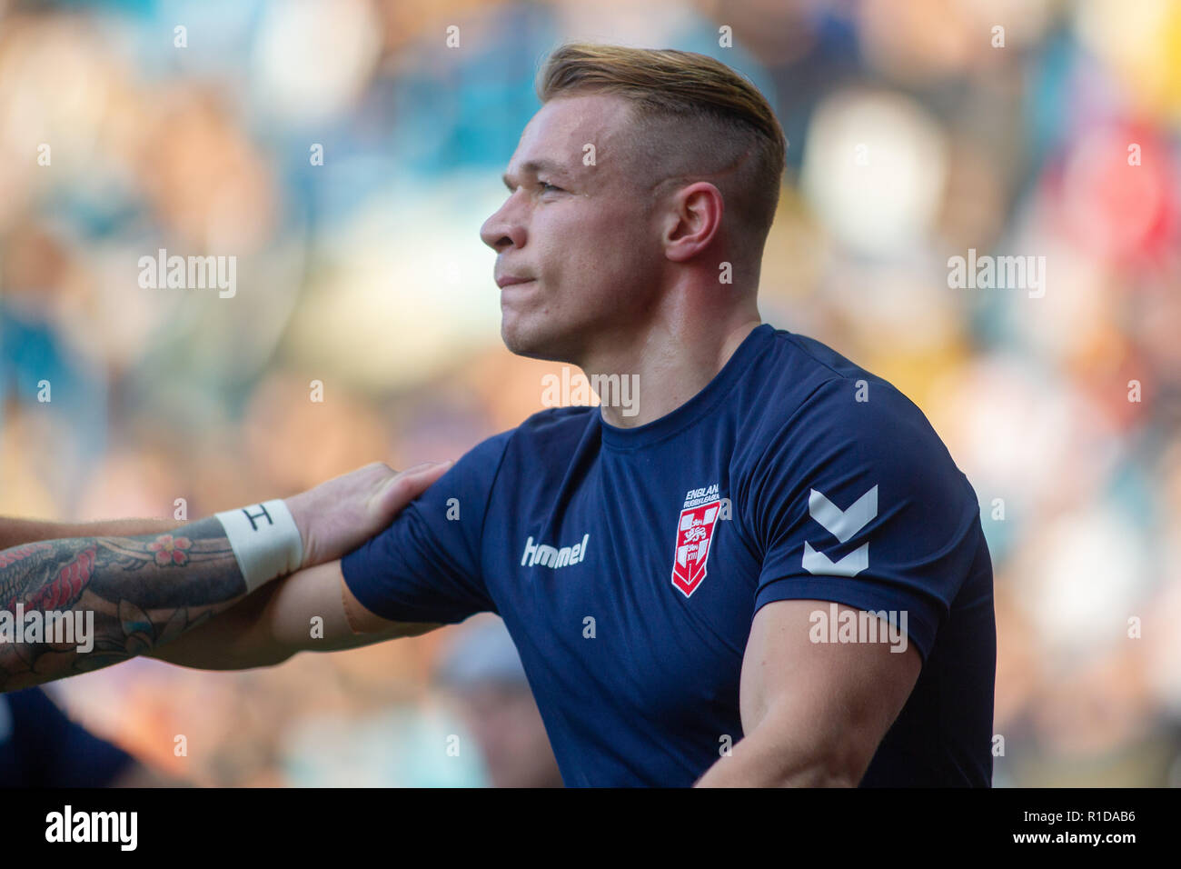 Leeds, UK. 11th Nov 2018. 11th November, Elland Road, Leeds, England ; Rugby League International  3rd Test Match , England v New Zealand ;  Jonny Lomax of England  in warmup  Credit:  Craig Milner/News Images Credit: News Images /Alamy Live News Stock Photo