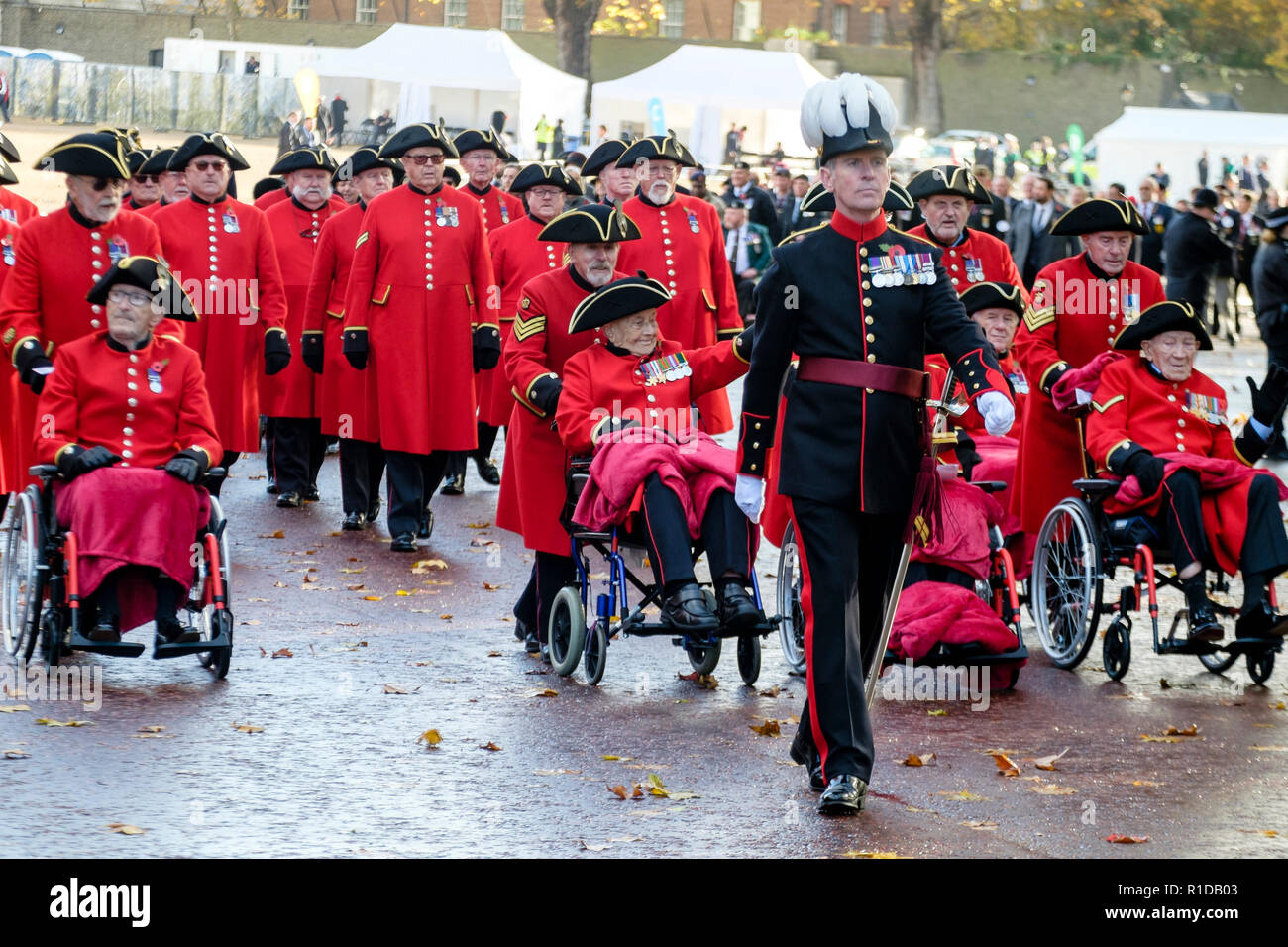 London, UK. 11th November 2018. Military veterans participate in Remembrance Day parade commemorating the 100th anniversary of the end of the First World War. Stock Photo