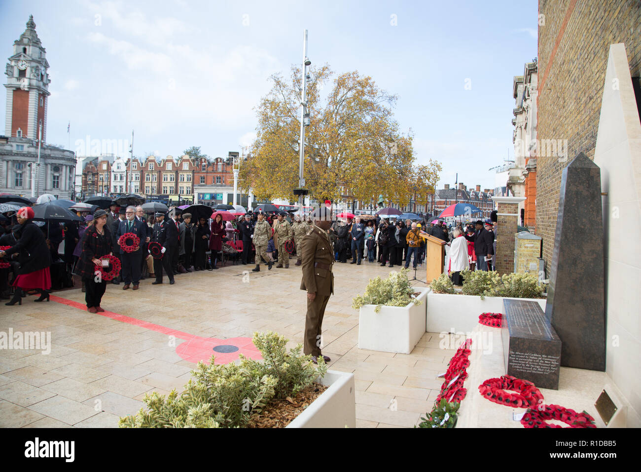 London UK 11th November 2018.  Shaun Bailey at the Remembrance Armistice Day Parade at the African Caribbean War Memorial in Windrush Square, Brixton. Credit: Thabo Jaiyesimi/Alamy Live News - Stock Image