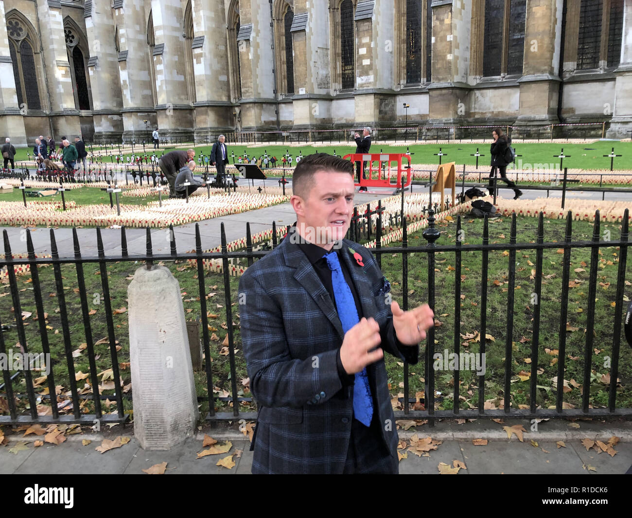 London, UK. 6th Nov, 2018. Tommy Robinson, former EDL leader seen speaking during a visit of a memorial for the 100th anniversary of the first World War in London. Credit: Edward Crawford/SOPA Images/ZUMA Wire/Alamy Live News - Stock Image