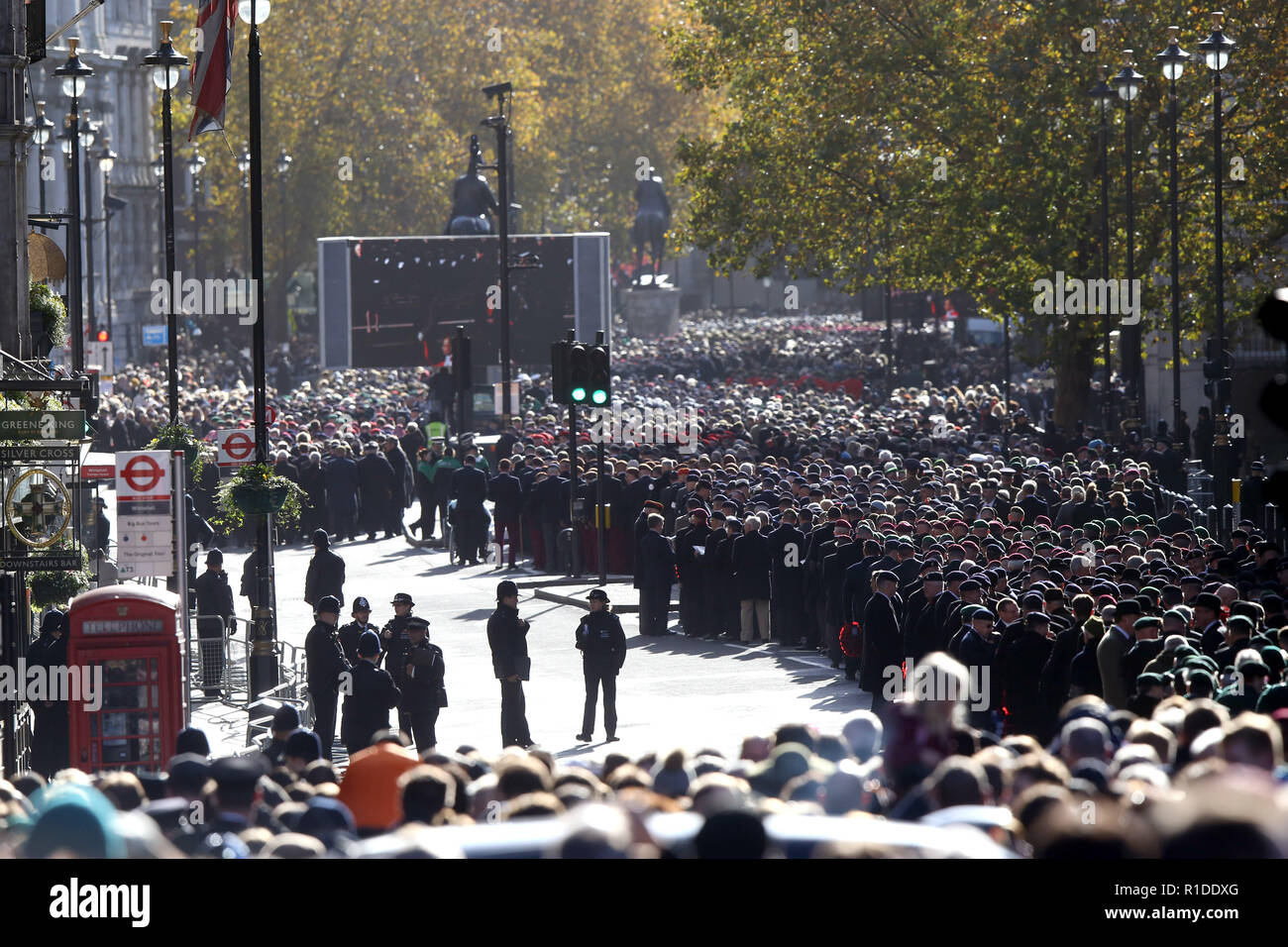 Thousands of servicemen and servicewomen fill Whitehall on Remembrance Sunday before marching past and paying their respects at the Cenotaph. Today marks 100 years since the end of the First World War. Remembrance Sunday, London, on November 11, 2018. - Stock Image