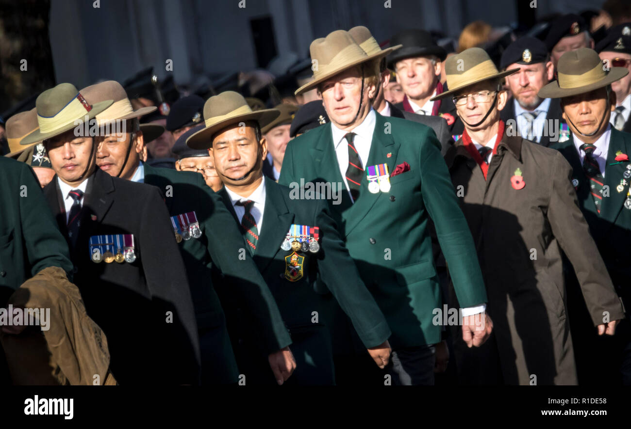 6bdb5e7fa5f Thousands gather at the Cenotaph to commemorate the 100th Centenary of the  ending of World War One . Veterans and serving military personal taking  part in ...