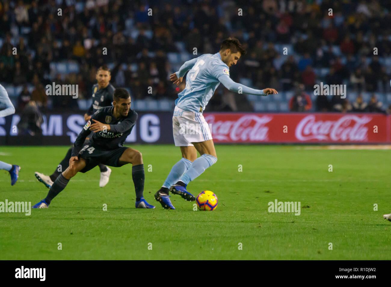 Vigo; Spain. 11 Nov; 2018. La Liga match between Real Club Celta de Vigo and Real Madrid in Balaidos stadium; Vigo; score 2-4. Credit: Brais Seara/Alamy Live News - Stock Image