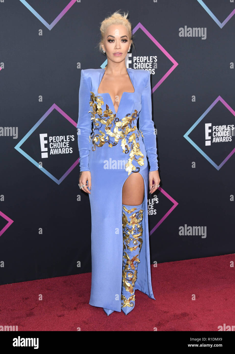 November 11, 2018 - Santa Monica, CA, U.S. - 11 November 2018 - Santa Monica, California - Rita Ora . 2018 E! People's Choice Awards - Arrivals held at Barker Hangar. Photo Credit: Birdie Thompson/AdMedia (Credit Image: © Birdie Thompson/AdMedia via ZUMA Wire) - Stock Image