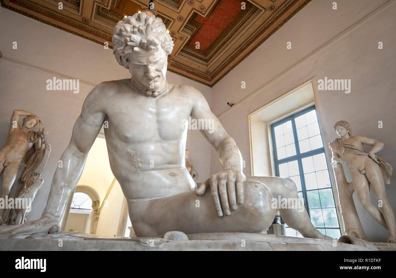 The Dying Gaul, also known as The Dying Galatian or The Dying Gladiator, in Palazzo Nuovo, part of the Capitoline Museums, Rome, Italy. - Stock Image