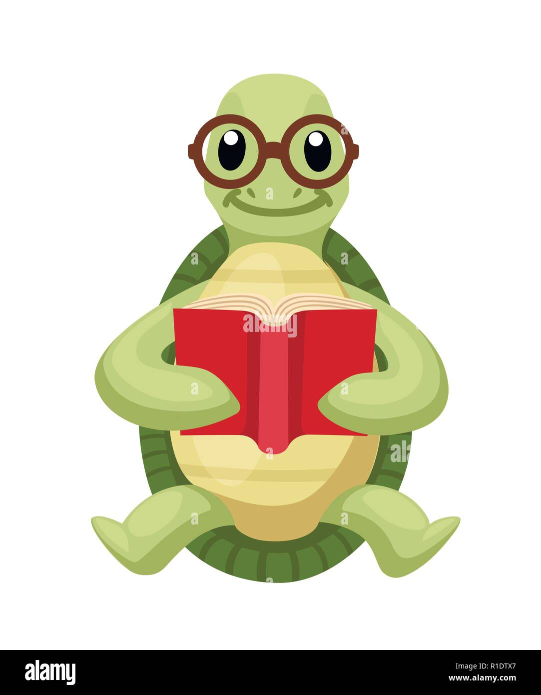 happy cute turtle sit and read book ,with smile. turtle with glasses.  cartoon character design. flat vector illustration isolated on white  background stock vector image & art - alamy  alamy