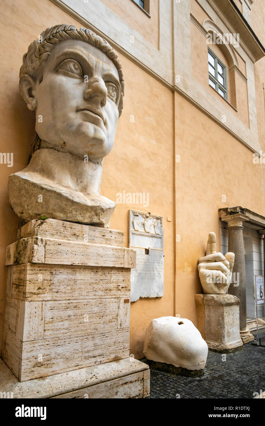 ececac4915b The head and hand of the Colossus of Constantine in the courtyard of the  Palazzo dei Conservatori