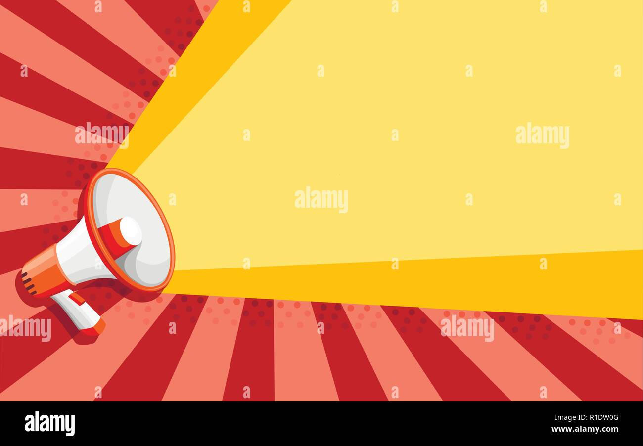 White orange megaphone. Flat style speaker. Vector illustration on color background. - Stock Vector