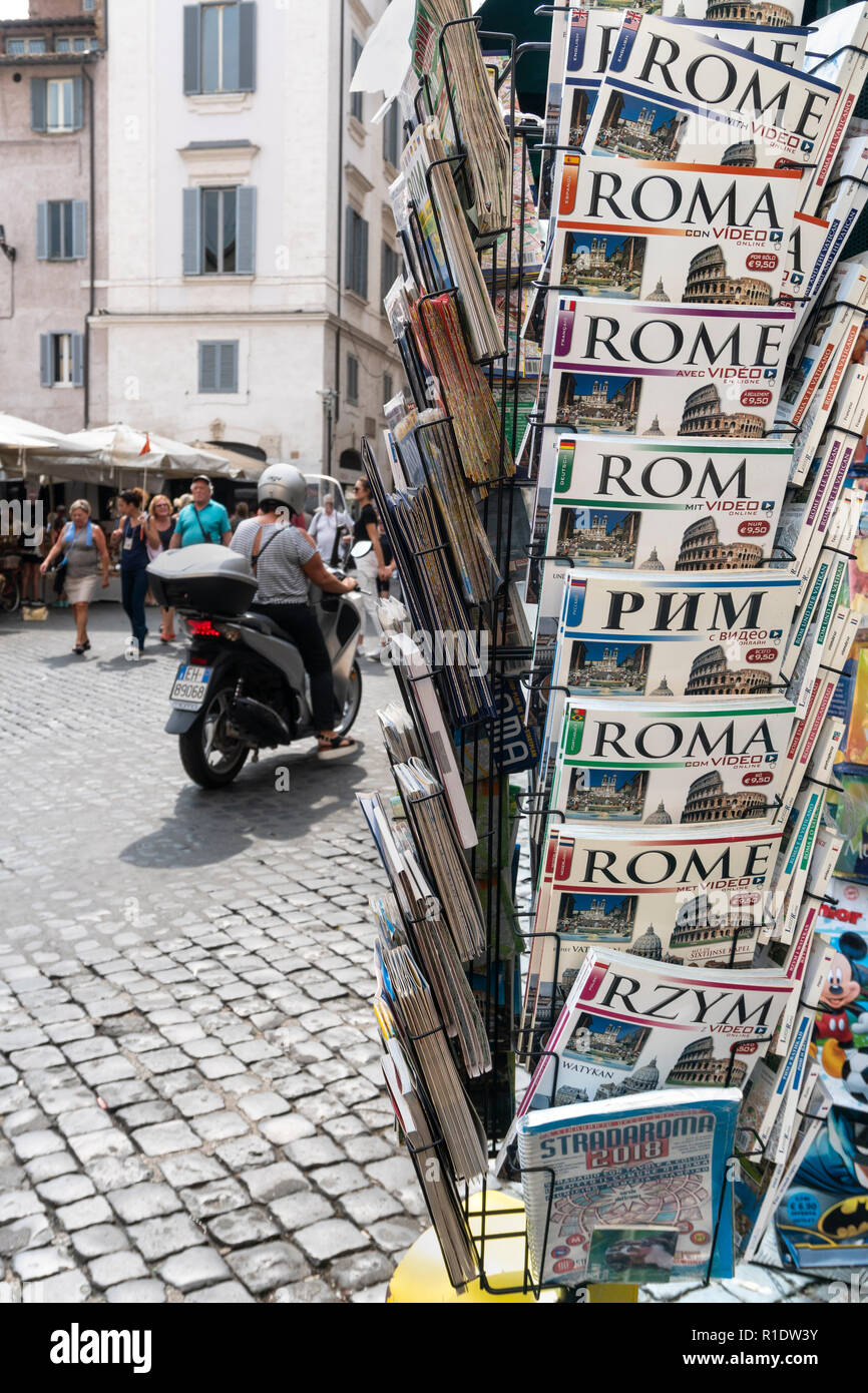 Tourist Guidebooks to Rome in a variety of languages, on sale in the Campo De Fiore,  Rome, Italy. - Stock Image