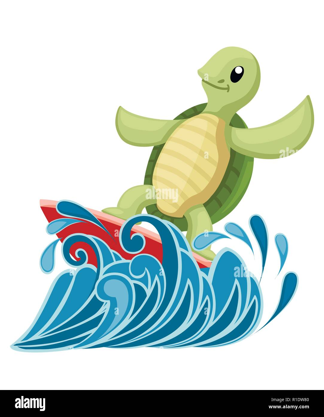 Happy cute turtle on surfboard. Turtle on water. Cartoon character design. Flat vector illustration isolated on white background with ocean or sea wav - Stock Vector