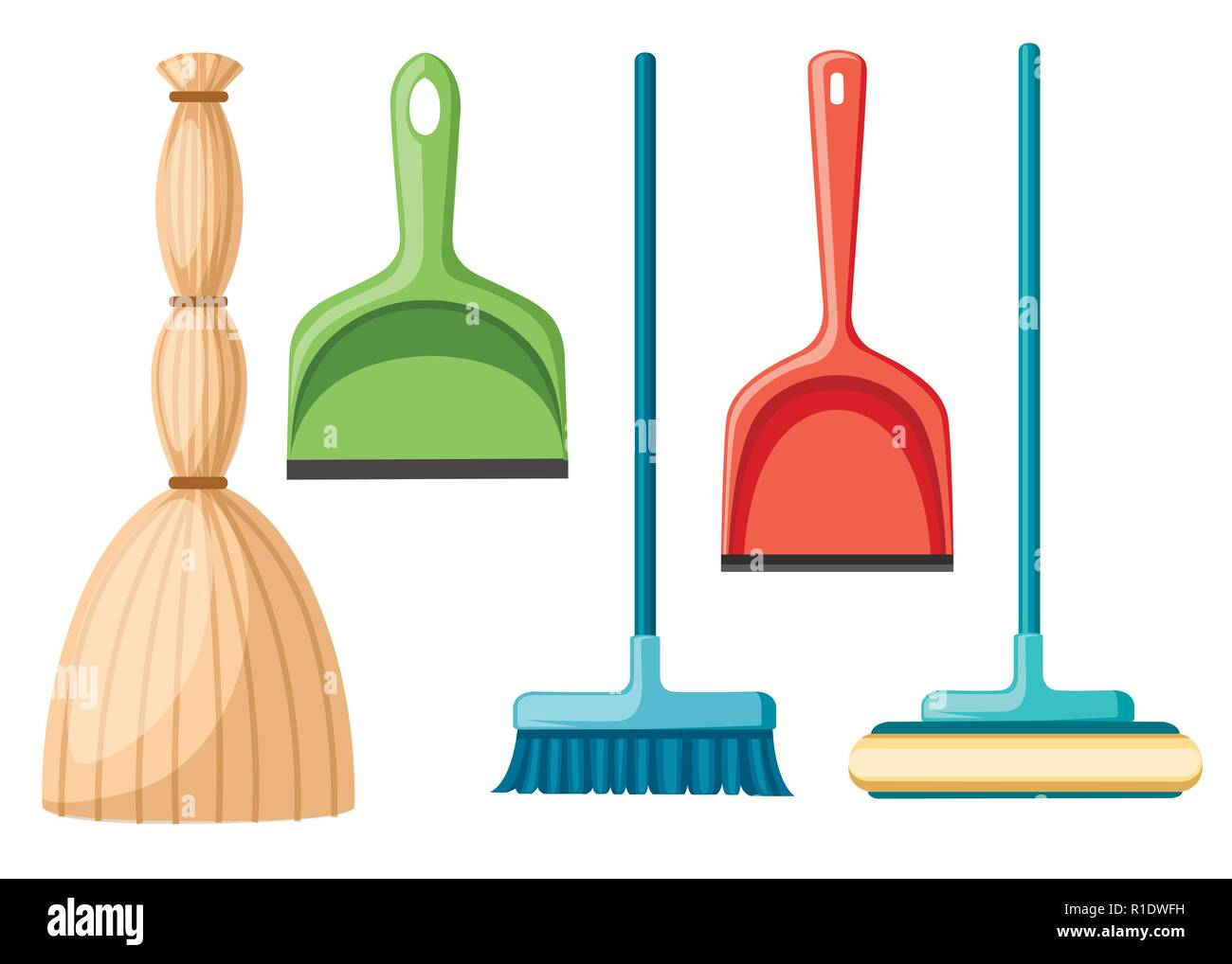 Collection of household cleaning utensil. Broom, mop, scoop. Flat vector illustration isolated on white background. - Stock Vector