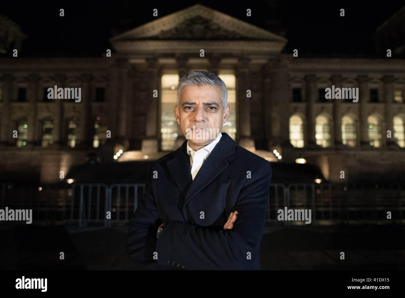 Mayor of London Sadiq Khan stands outside the Reichstag building in Berlin, home of the German Parliament, at the start of a three-day visit to Berlin and Paris where he will meet business leaders and politicians. - Stock Image