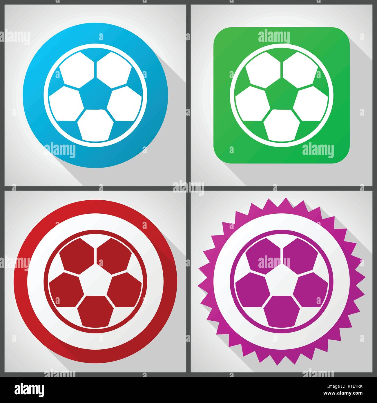 Vector icons with 4 options. Soccer flat design icon set easy to edit in eps 10. - Stock Vector
