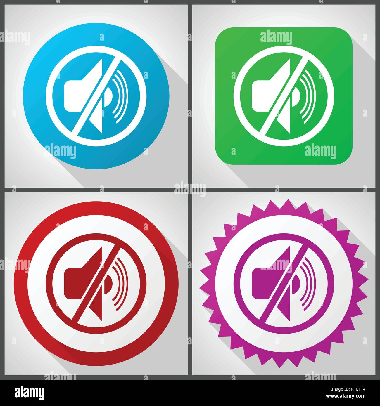 Vector icons with 4 options. Mute flat design icon set easy to edit in eps 10. - Stock Image