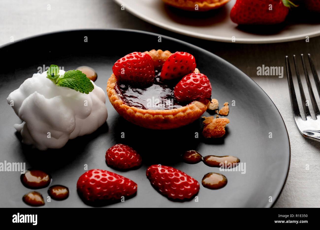 Strawberry jam tart Stock Photo