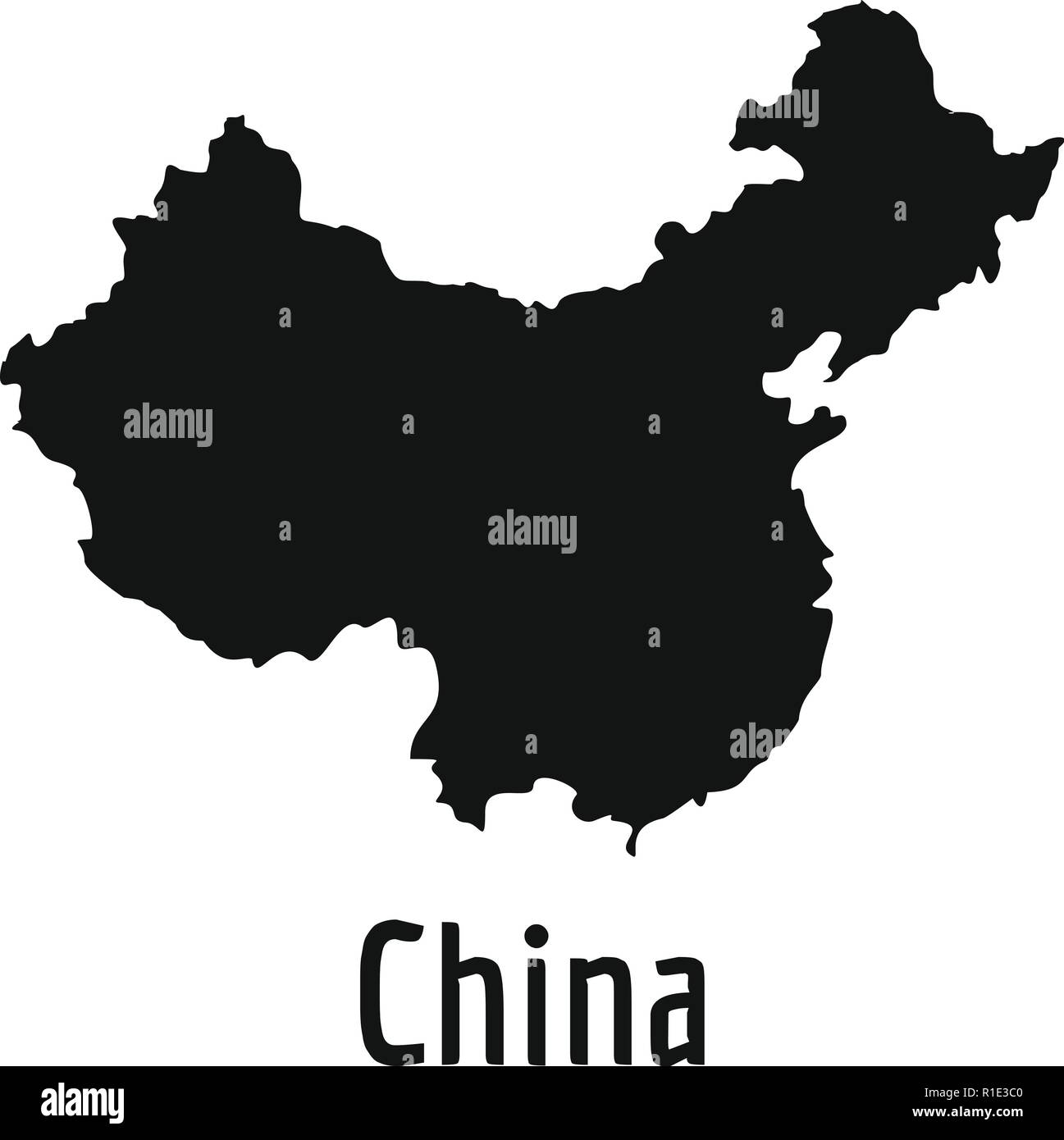 China Map In Black Simple Illustration Of China Map Vector Isolated