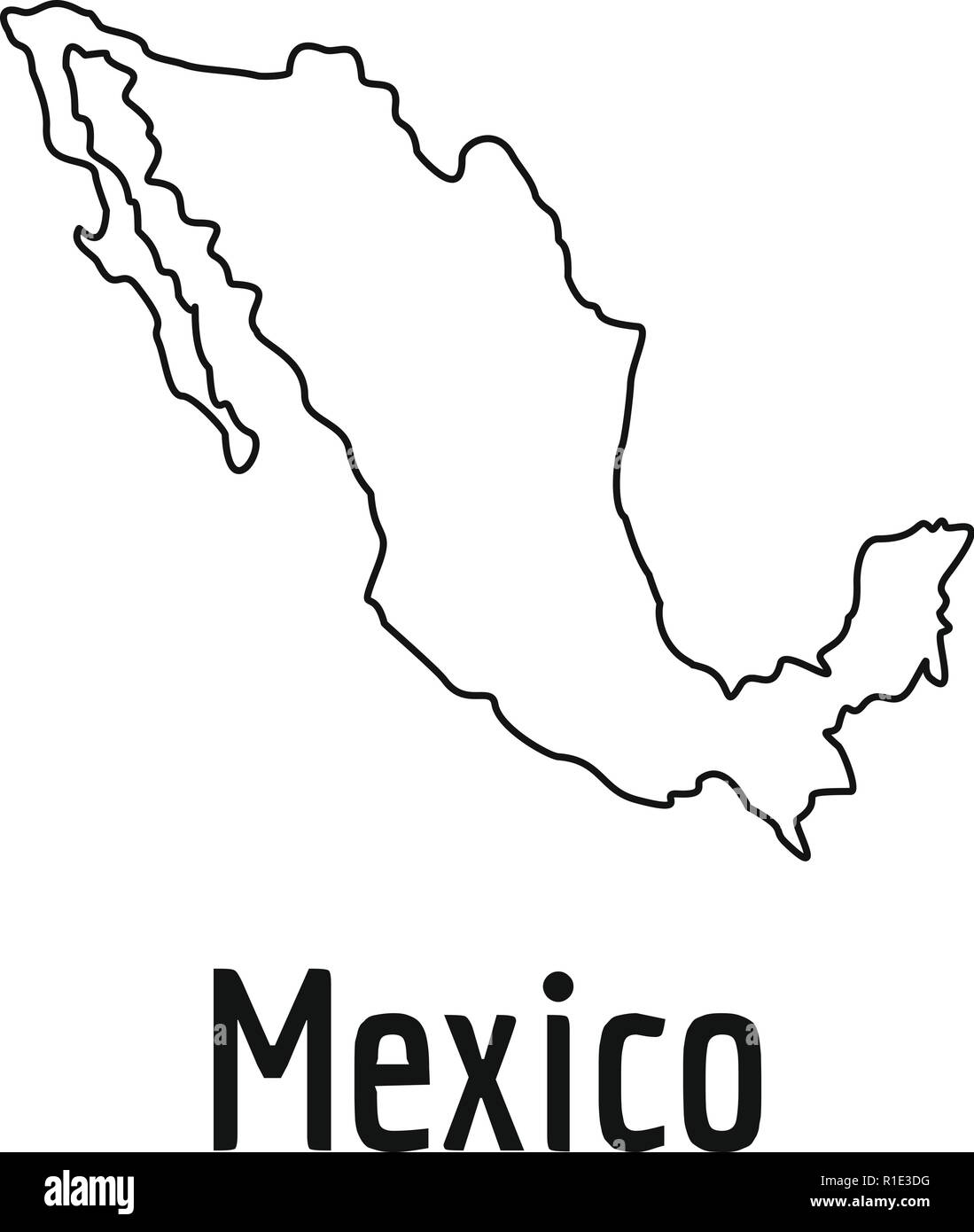 Mexico Map Thin Line Simple Illustration Of Mexico Map Vector
