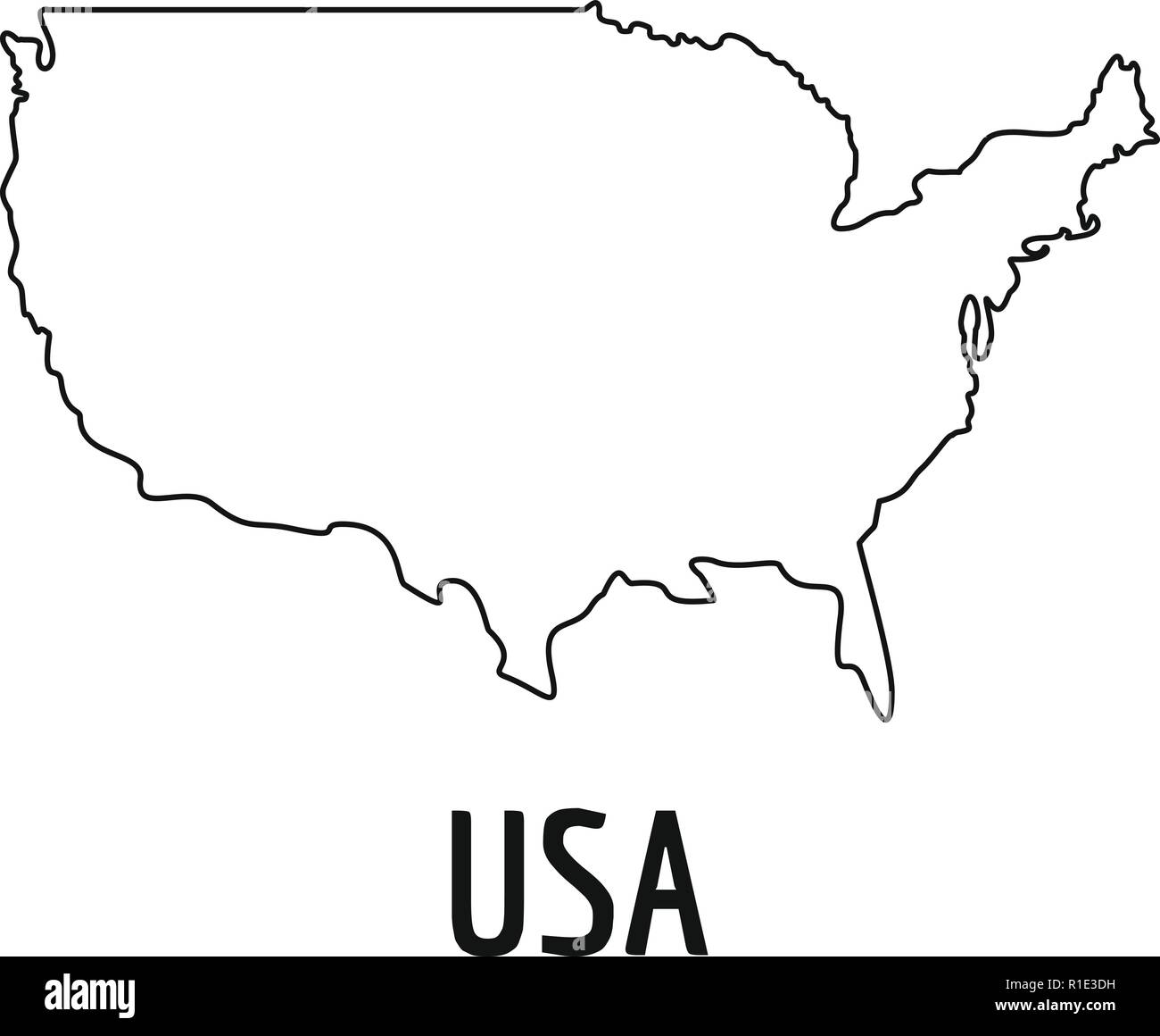 Usa Map Thin Line Simple Illustration Of Usa Map Vector