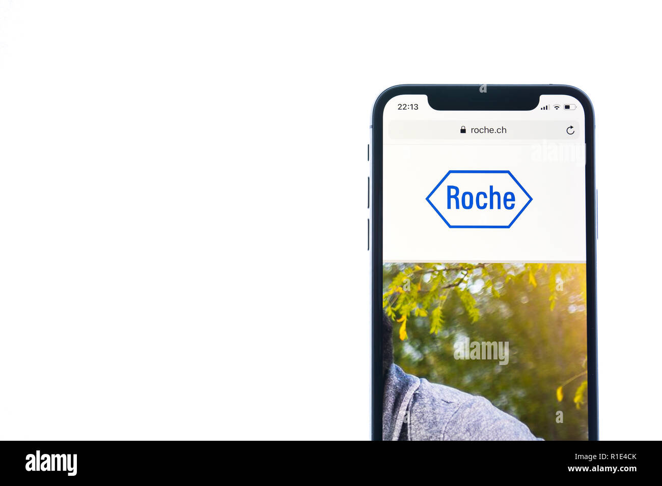SOLOTHURN, SWITZERLAND - NOVEMBER 11, 2018: Roche logo displayed on a modern smartphone - Stock Image