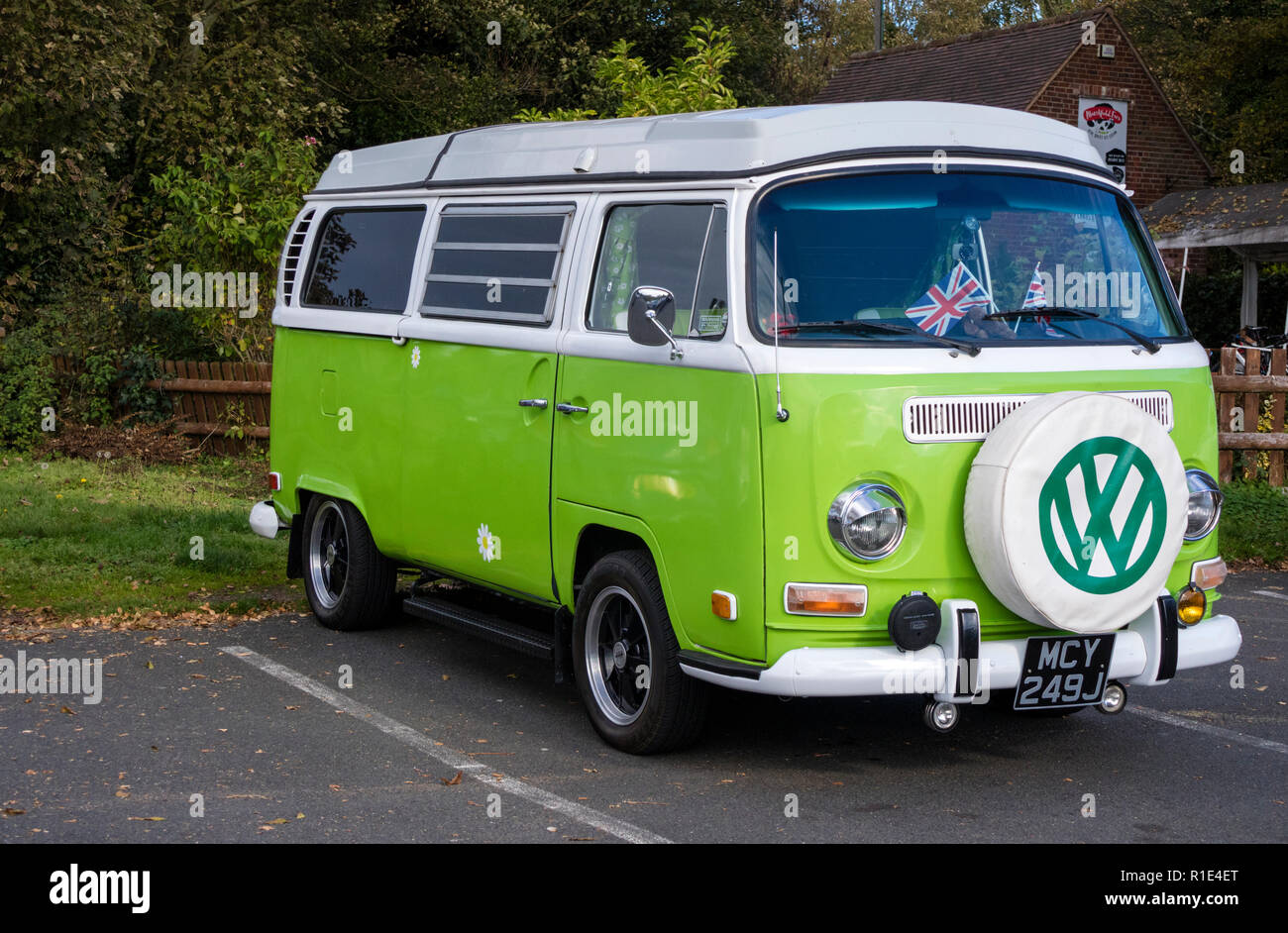 Lime green VW camper T2 bay - Stock Image