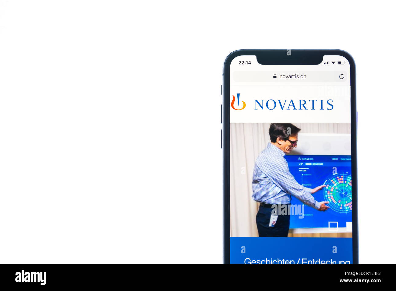 SOLOTHURN, SWITZERLAND - NOVEMBER 11, 2018: Novartis logo displayed on a modern smartphone - Stock Image