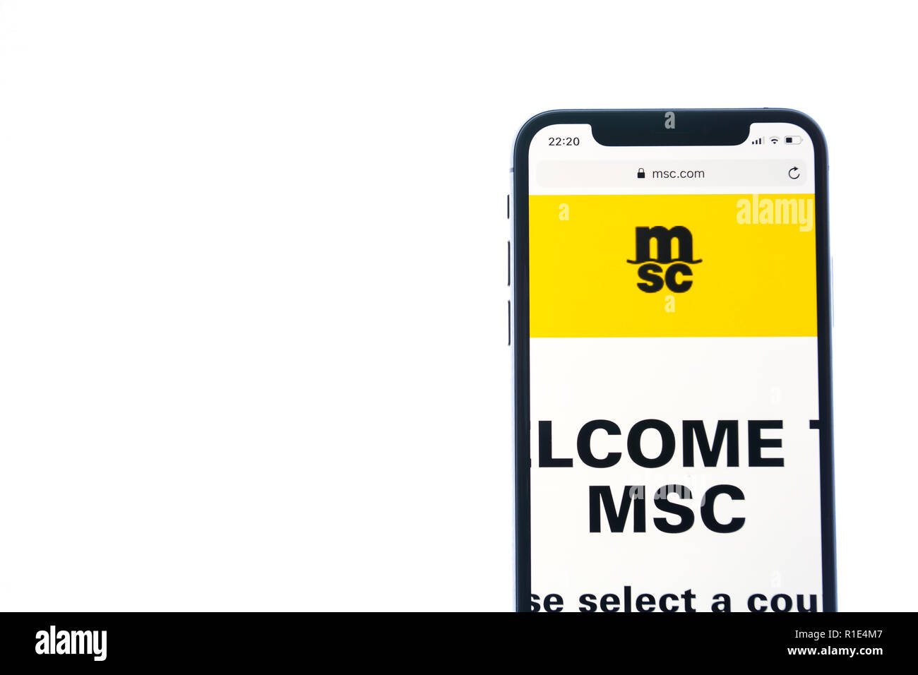 SOLOTHURN, SWITZERLAND - NOVEMBER 11, 2018: MSC logo displayed on a modern smartphone - Stock Image