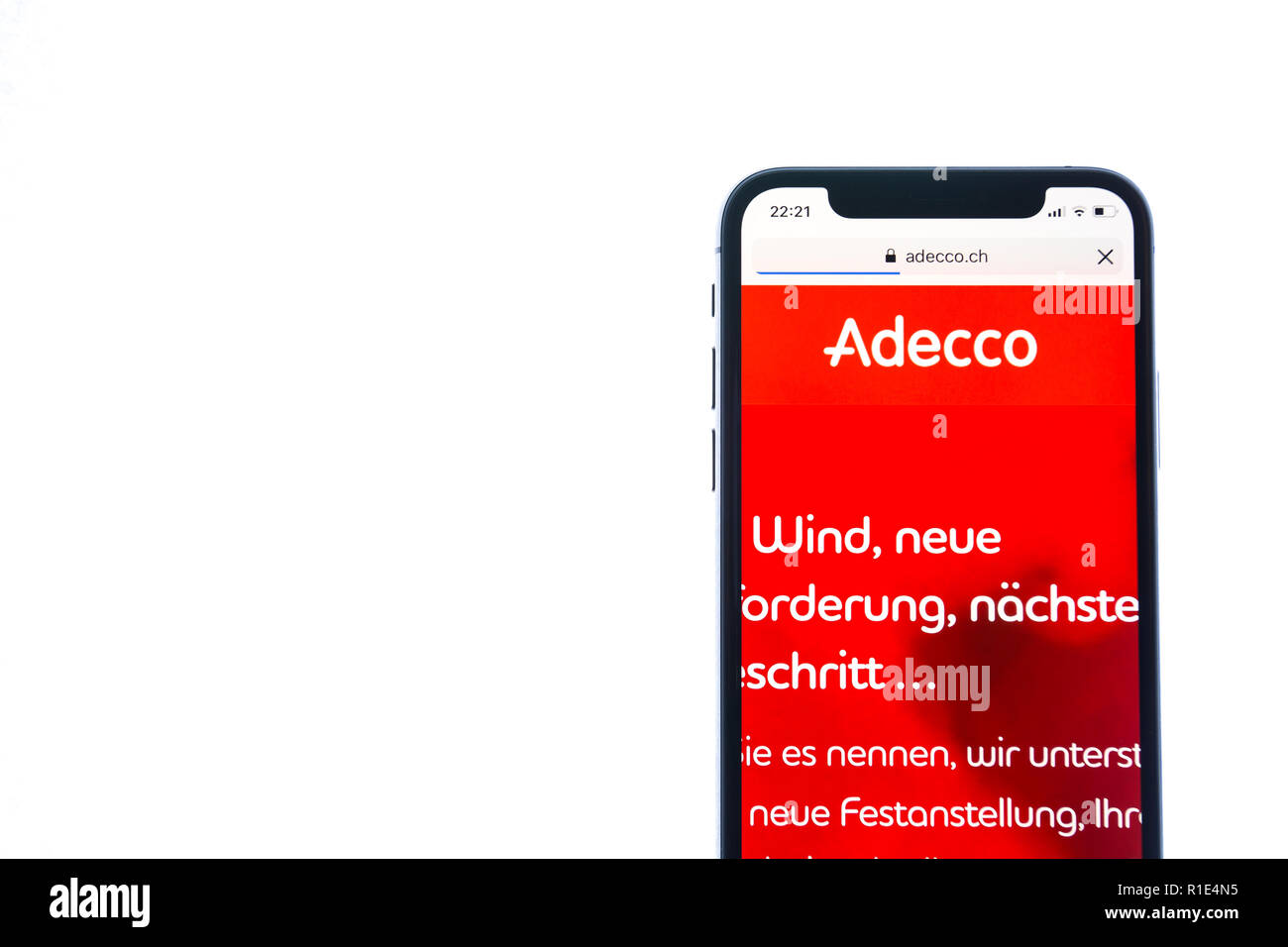 SOLOTHURN, SWITZERLAND - NOVEMBER 11, 2018: Adecco logo displayed on a modern smartphone - Stock Image
