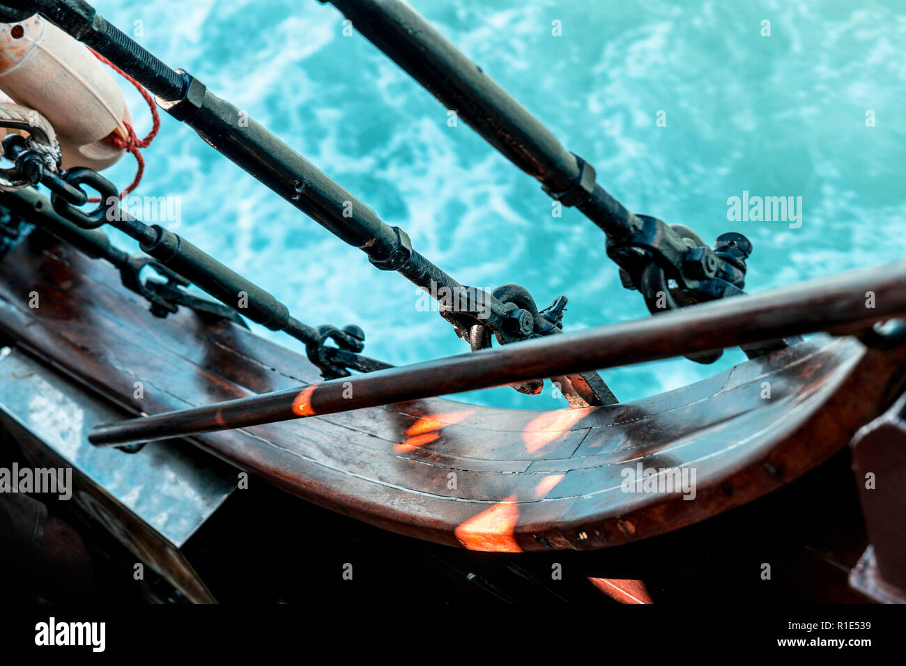 Dynamc Ship Detail with Water Background - Stock Image