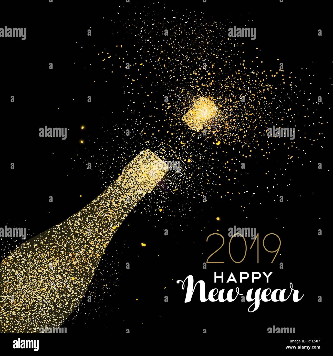 happy new year 2019 gold champagne bottle celebration made of realistic golden glitter dust ideal for holiday card or elegant party invitation